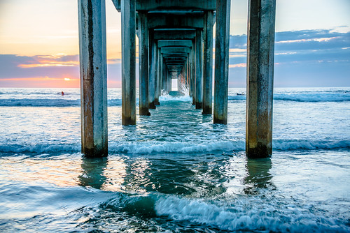 Scripps Pier Fine Art Sunset La Jolla Beach California! Colorful Pastel Clouds Sunset! Nikon D810 Epic Landsape Seascape Ocean Photography. AF-S NIKKOR 28-300mm f/3.5-5.6G ED VR Nikon! San Diego Sunset!