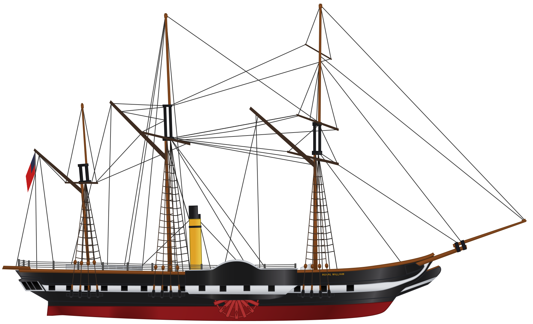 Modern computer-generated line drawing of SS Royal William (1833).
