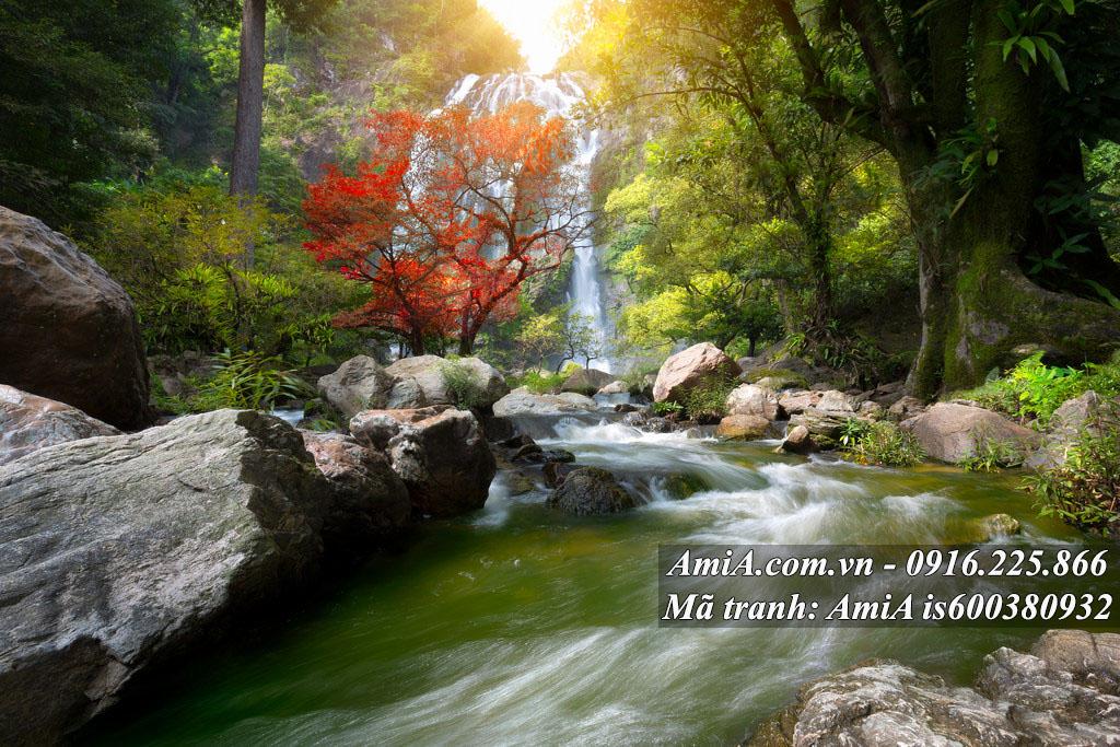 Tranh phong cảnh đẹp thiên nhiên thác nước trong rừng