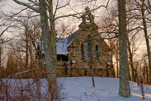 church chapel stluke ringwood state park gothic architecture snow sunset trees woods skylands goodfriday easter2018 stone churchbell branches alfredloomis johnrusselpope 1895