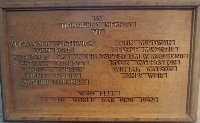 Crichton Collegiate Kirk World War 2 Memorial Wording