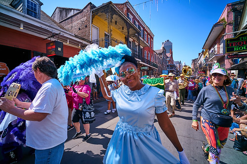 Baby Doll in Opening kickoff parade Day 1 of French Quarter Fest - April 12, 2018. Photo by Eli Mergel.