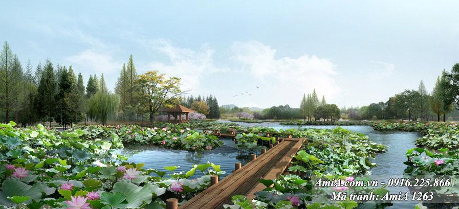 AmiA 1263 - Tranh phong cảnh quê hương hồ Sen