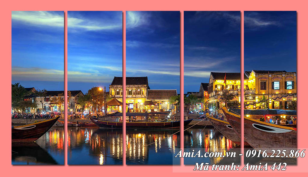 AmiA 442 - Tranh bộ 5 tấm hiện đại cảnh quê hương Hội An Việt Nam