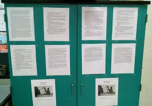 Student Writing on Display