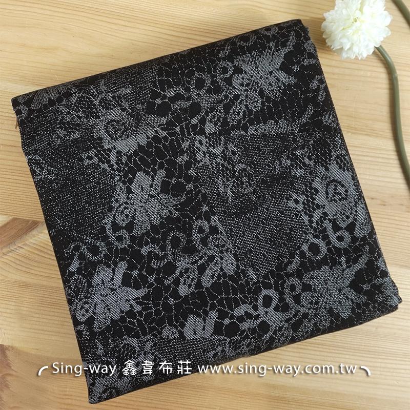 黑底蕾絲印花 手工藝DIy拼布 牛仔服裝布料 CE490352