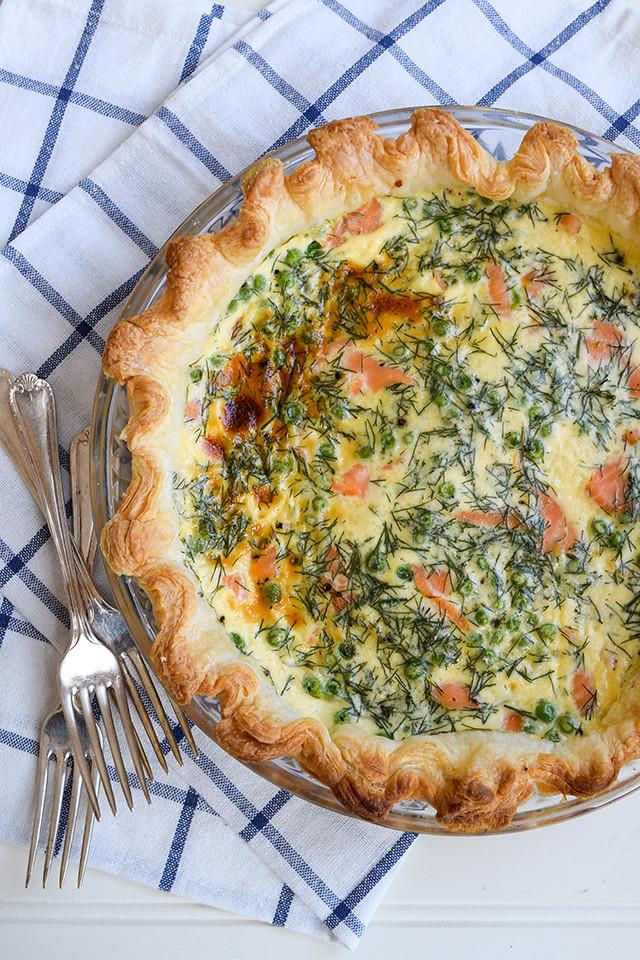 Smoked Salmon & Green Pea Puff Pastry Quiche #quiche #salmon #pea #puffpastry
