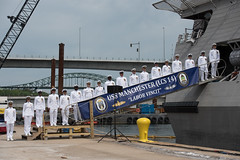 USS Manchester (LCS 14) crew members line the brow during the ship's commissioning ceremony, May 26. (U.S. Navy/MC2 Jacob I. Allison)