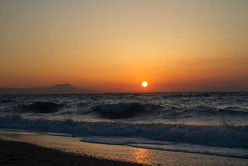 sunset greece platanes rethymno rethymon beach sun waves sea ocean