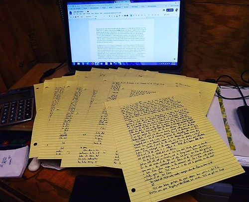 "In the ""yikes"" department, those handwritten pages contain my review of THE LAST JEDI, which I am now starting to type up for the blog. #amwriting #writersofinstagram #essays #blogging #longhand"