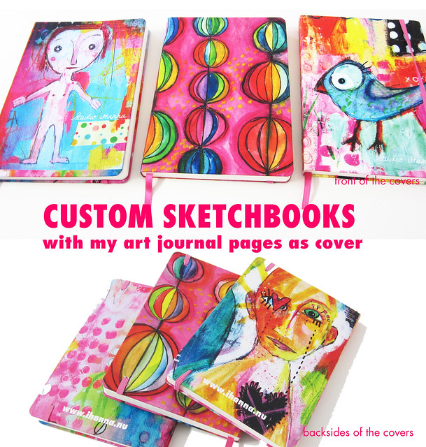 Custom Sketchbooks with cover from my Art Journal Pages