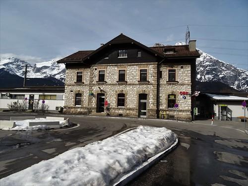Telfs/Pfaffenhofen, Tyrol, state of Austria (the art of railway stations of Tirol), Bahnweg/Sportplatzweg (Bahnhof Telfs/Pfaffenhofen)