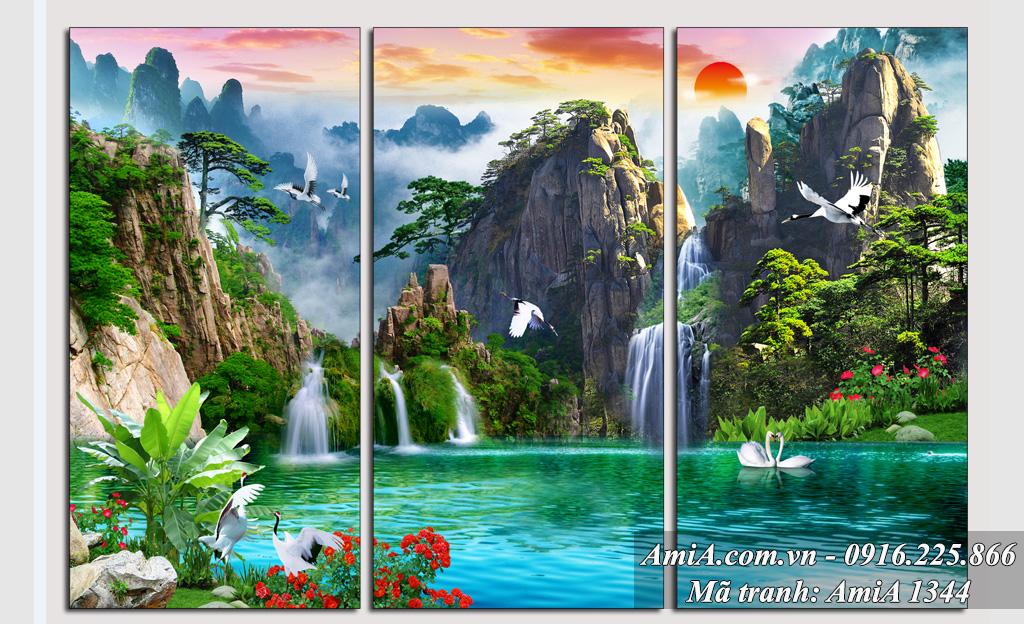 Tranh phong cảnh đẹp thiên nhiên sơn thủy hữu tình