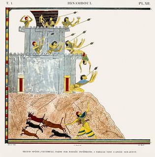 Great Speos: vestibule, south wall, lower row and Painting of southwest corner from Monuments de l'Égypte et de la Nubie (1835-1845) by Jean François Champollion (1790-1832). Digitally enhanced by rawpixel.