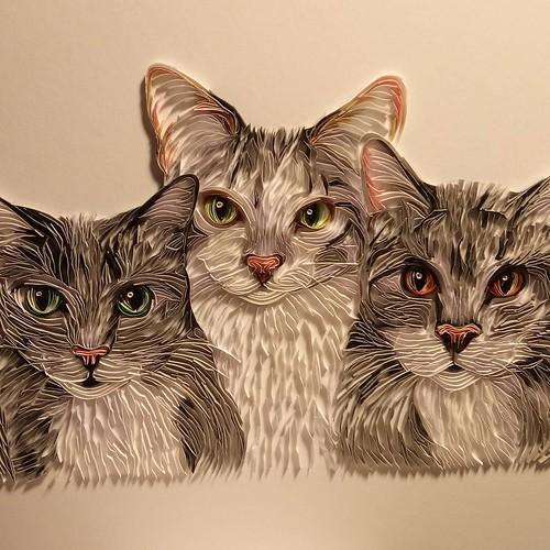 On-Edge Paper Art Cats - Rebekah Jenkins
