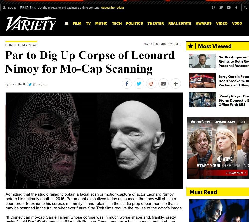 Paramount to dig up Leonard Nimoy for Star Trek films