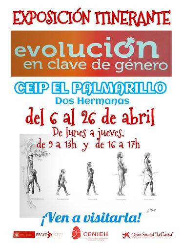 Cartel exposición Evolución en clave de género en el Colegio El Palmarillo