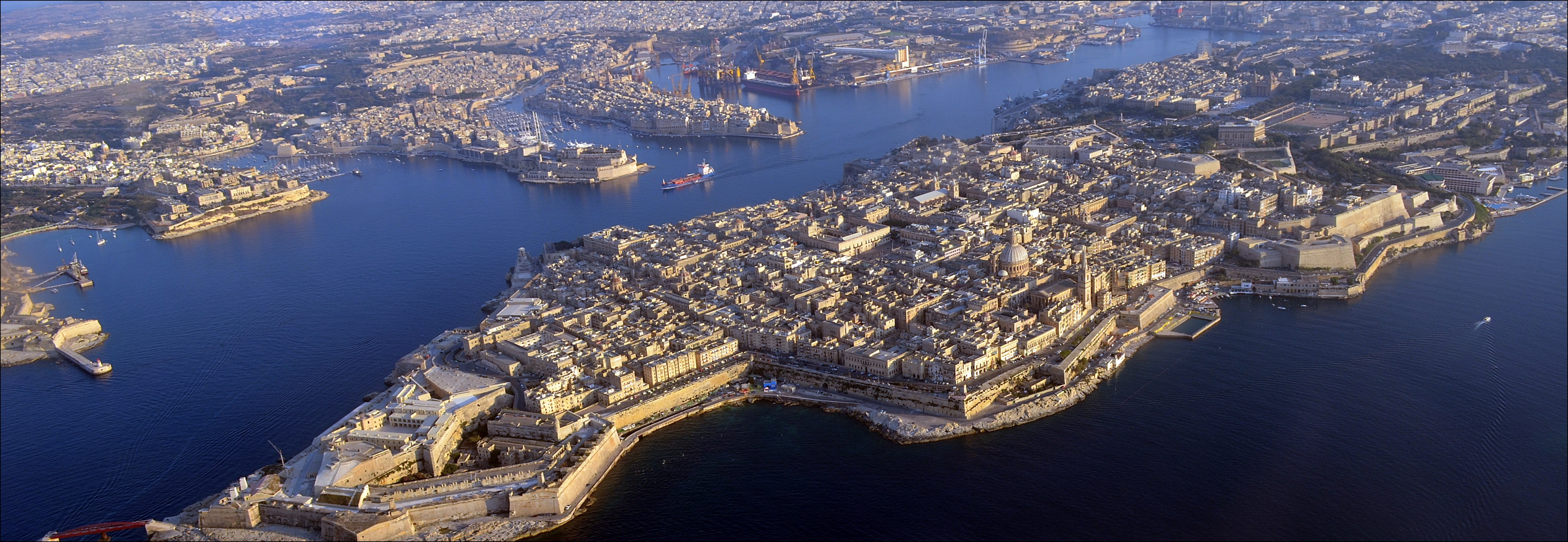 Aerial view showing the exterior and interior outlines of Valletta. Photo taken on June 13, 2014.