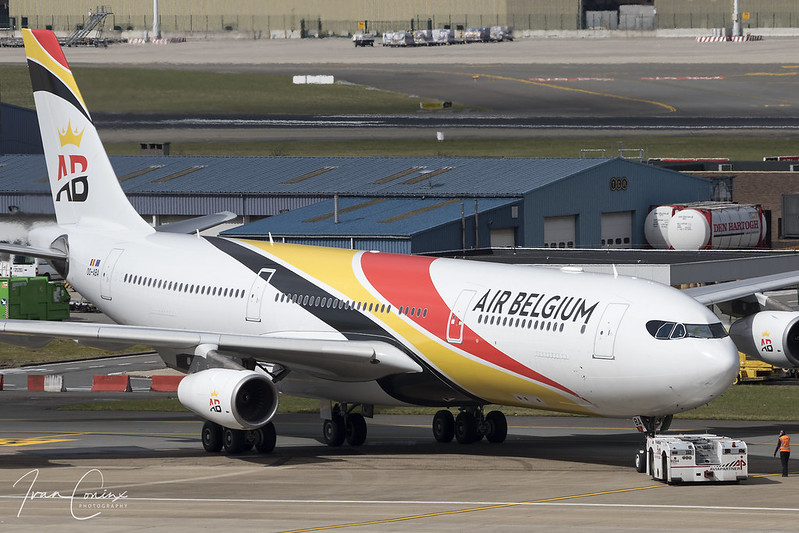 Airbus A340-313 – Air Belgium – OO-ABA – Brussels Airport (BRU EBBR) – 2018 03 29 – Pushback – 03 – Copyright © 2018 Ivan Coninx