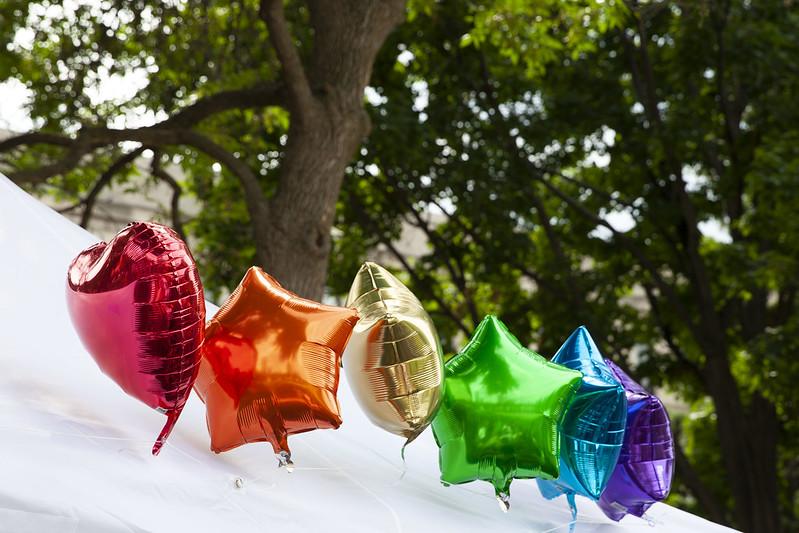 Pride rainbow balloons