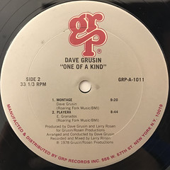 DAVE GRUSIN:ONE OF A KIND(LABEL SIDE-B)