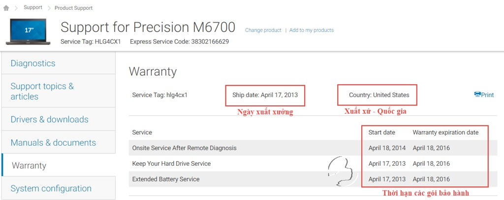 Dell M6700 - Thông tin check bảo hành, xuất xứ
