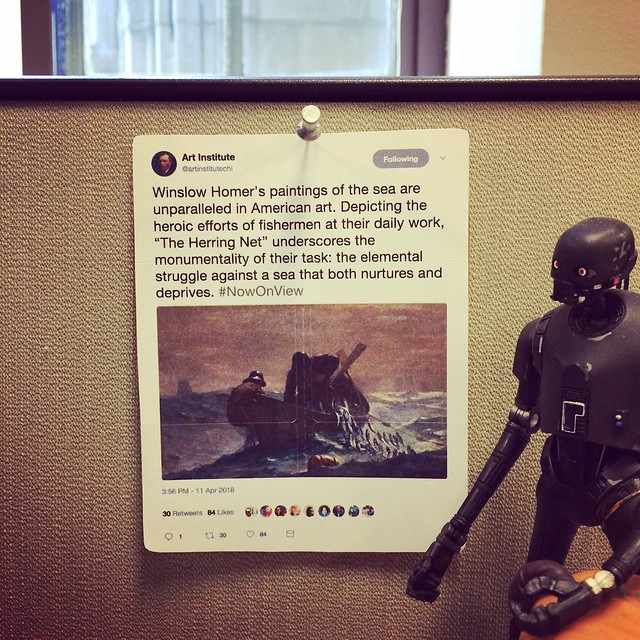 I love this tweet so much by the @artinstitutechi, that I printed it out and hung it up at work. #TweetsAsArt