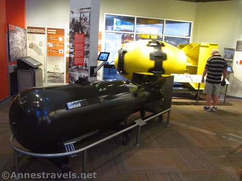 Replicas of Fat Boy and Thin Man, the two atomic bombs, at the Bradbury Science Museum in Los Alamos, New Mexico - the bombs were named after Winston Churchhill and Franklin Roosevelt, respectively