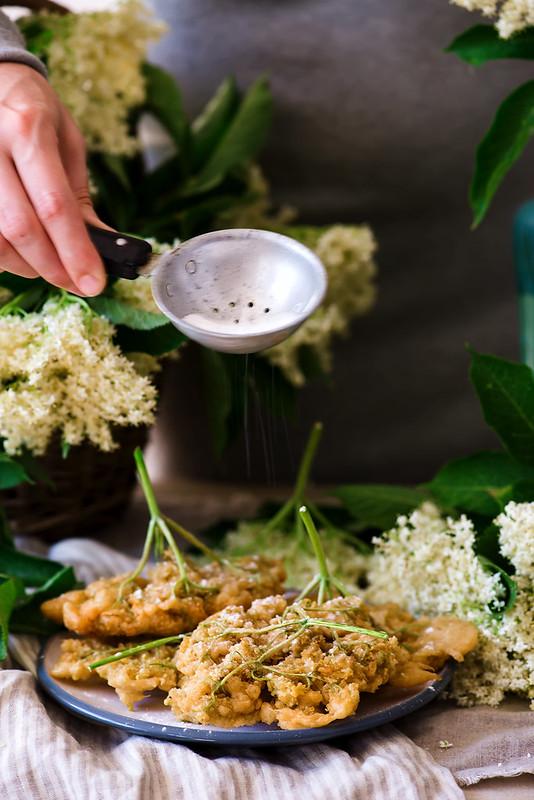 elderflower blossoms deep-fried.