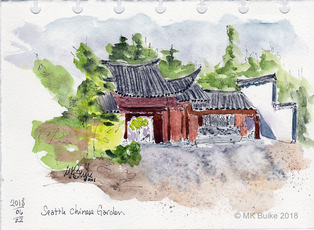 Urban Sketchers Seattle: Chilly in the Chinese Garden