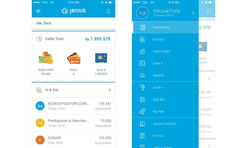 Tampilan dashboard dan menu di aplikasi Jenius | Hola Darla
