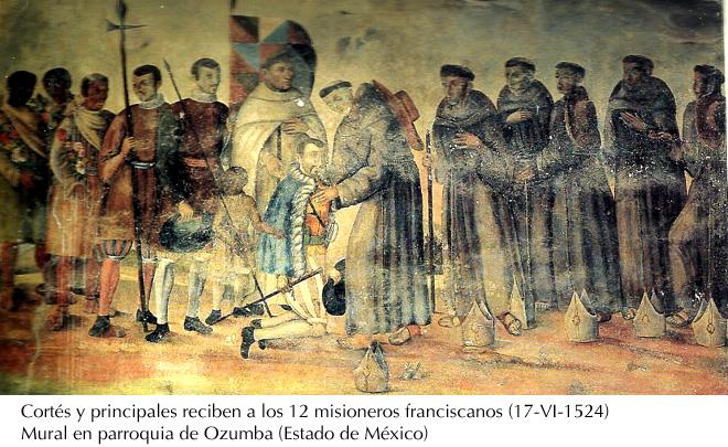Cortés recibe a los Doce franciscanos, 1524