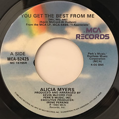 ALICIA MYERS:YOU GET THE BEST FROM ME(LABEL SIDE-A)