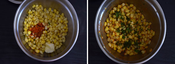 Masala Sweet Corn cooking steps by GoSpicy.net