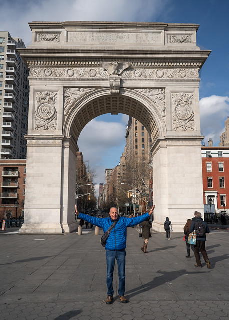 Leo at the Washington Square Arch