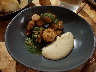 Smoky mash, tempeh, herb sauce at Grown