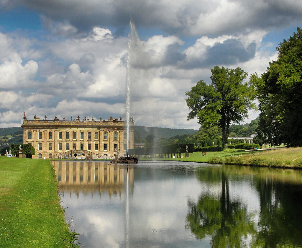 Chatsworth House South Front with Emperor Fountain. Credit Nessy-Pic