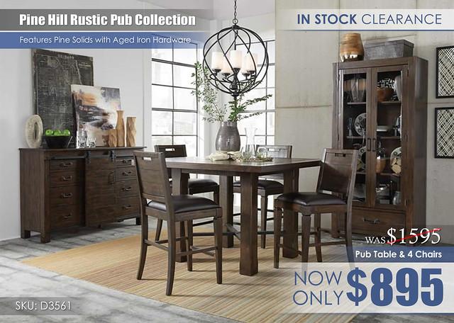 Pine Hill Pub Dining Set D3561_CLEARANCE