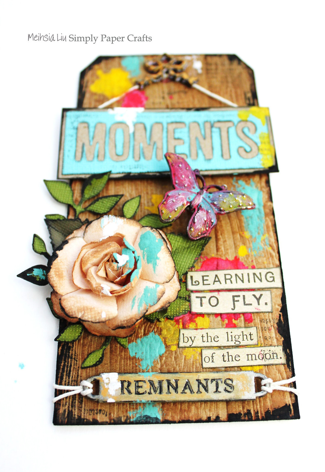 Meihsia Liu Simply Paper Crafts Mixed Media Tag Kraft Fly Simon Says Stamp Tim Holtz Prima Flowers 1