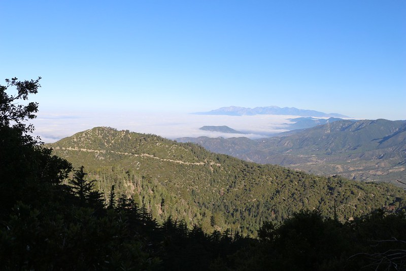 Looking west over the marine layer toward distant Mt Baldy on the San Bernardino Peak Trail