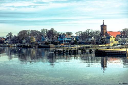 landscape seascape town city village newport rhodeisland ri churchstjohntheevangelist zabriskie water reflection clouds spring