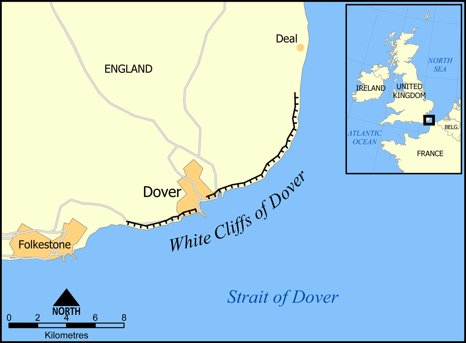 Map of the southeastern British coastline showing the extent of the White Cliffs of Dover