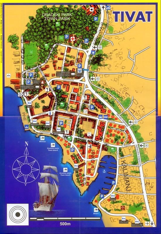 Туристическая карта города Тиват