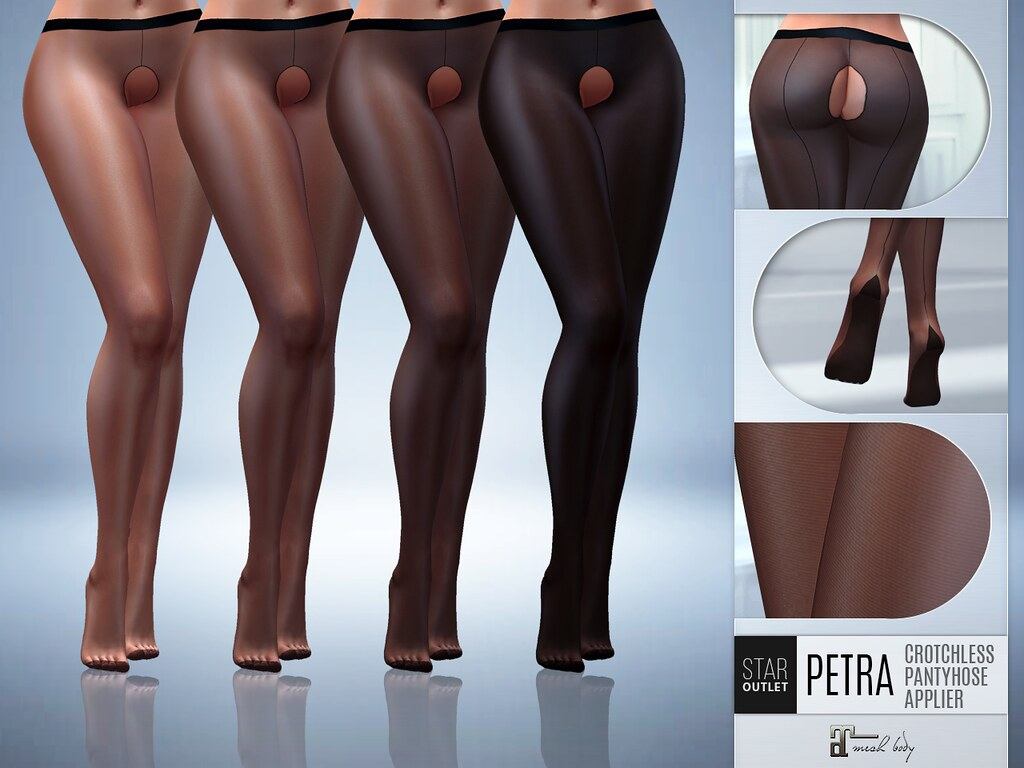 NEW RELEASE! Star Outlet Crotchless Pantyhose Petra Black Sheer – Maitreya Applier