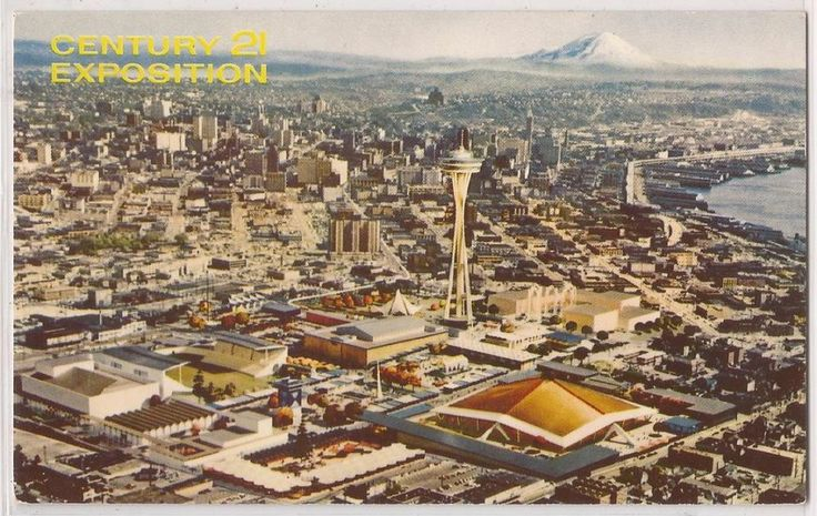 Postcard portraying an aerial view of the Century 21 Exposition fairgrounds.