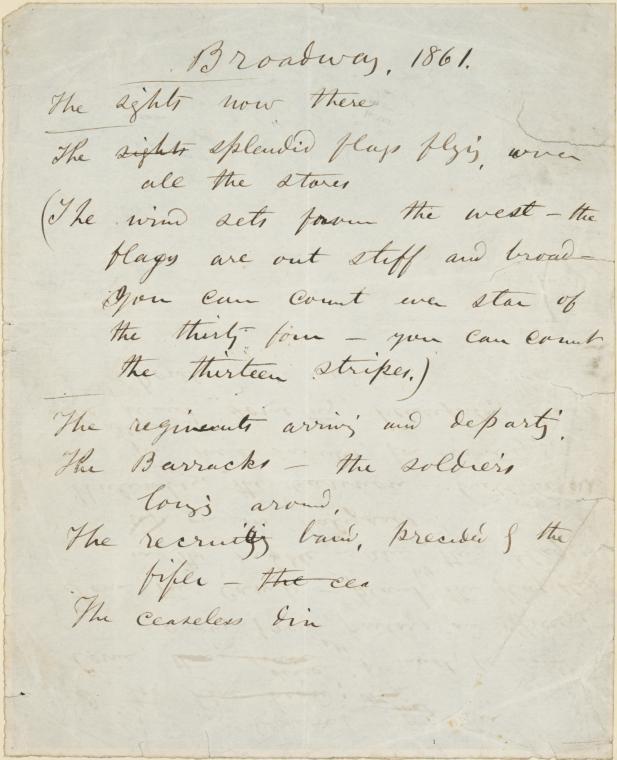 Manuscript handwritten by Walt Whitman, American poet, for his poem