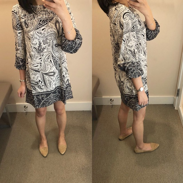 LOFT Shadow Paisley Shift Dress, size XXSP