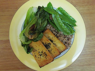 Ginger Bok Choy and Sweet Peas with Miso-Glazed Tofu