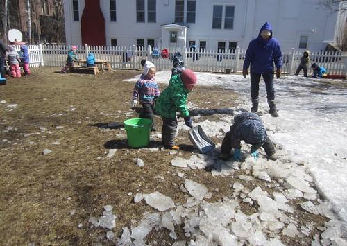 scooping ice chunks