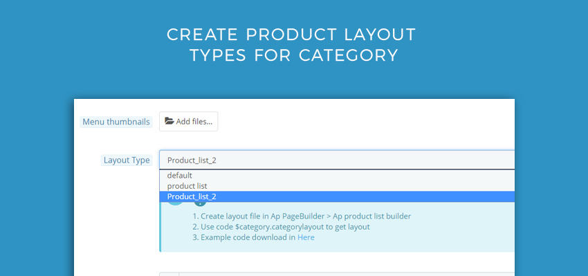 choose product layout type for each category
